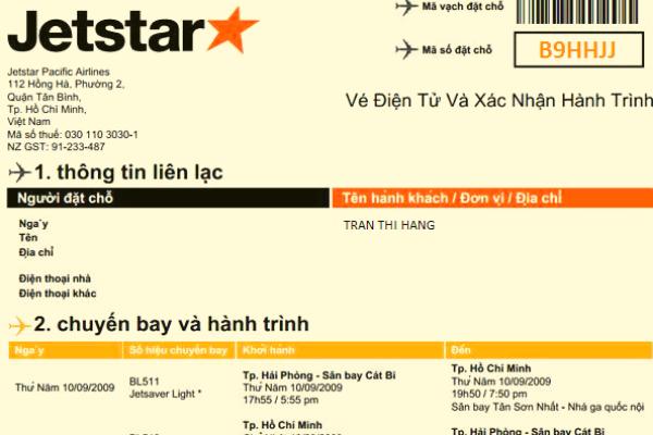 Vé điện tử Jetstar