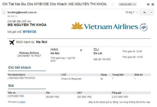 Mã đặt chỗ Vietnam Airlines là gì